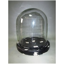 Oval Shaped Glass Cover With Black MDF Base Candle Holder