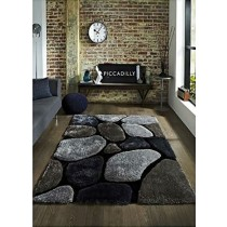 Durable Gray And Silver Colour Abstract 3D Shaggy Carpet