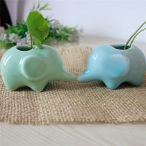 Elephant Shape Ceramic Planter Set Of 2 Pcs