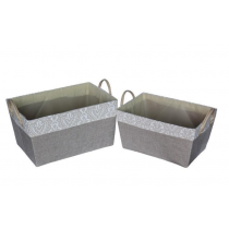 Cotton Fabric Laundry Basket-Square Shaped