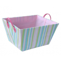 Fabric Laundry Basket with White-Green Stripes