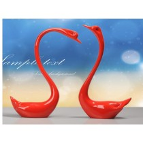 Fancy resin red swan desktop ornament,wedding decor (A)