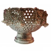 Hand Carved Copper Finish Metal Fruits Bowl
