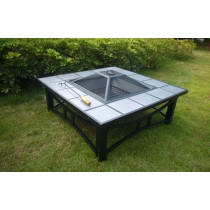 Tiled Border Square Fire Pit 86 x 86 x 49 cm