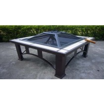 Square Type Fire Pit for Garden, 74x74x62cm
