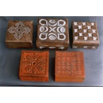Five Decorative Wooden Box With Floral Work