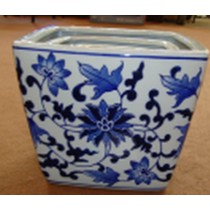 Set Of 3 Blue Print Square Ceramic Planters