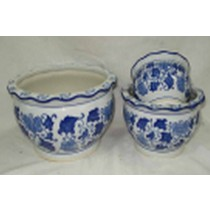 Modern Blue Printed Set Of 3 Ceramic Pot
