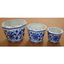 Unique Style Printed Set Of 3 Ceramic Pot