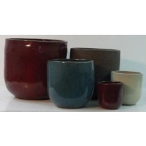 Dark Red Ht 48 Cm Glazed Ceramic Planter
