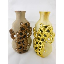 Set Of 2 Embossed Decorative Flower Vase