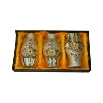 Golden Floral Decorative Flower Vase (Set Of 3)