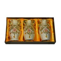 Set Of 3 Golden Floral Decorate Flowers Vase