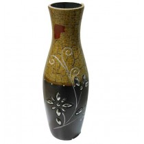 Large Cream And Brown Designer Flower Vase