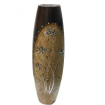 Brown Texture With maroon decorative Cylindrical Flower Vase
