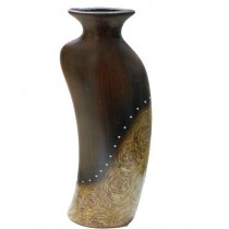Dark Wood Brown Decorative Shape Flower Vase