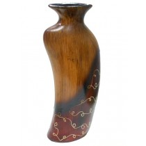 Red Texture Wood Decorative Shape Flower Vase