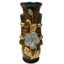 Black with Golden leaf & silver Flower Decorate Flower Vase