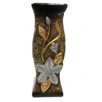 Decorative Shape With Wooden Texture Golden & Silver Flower Vase