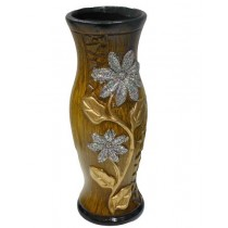 Natural Wood Decorative Shape Golden & Silver Flower Vase