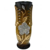 Wooden Texture Finish Golden & Silver Design Flower Vase
