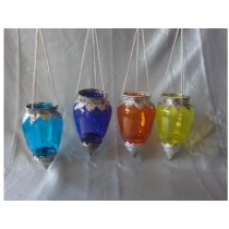 colored glass with metal hanging votive size-4 X 7