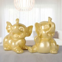 Gold poly resin handmade elephant home decor wedding decor (B)