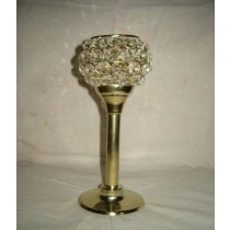 Golden Plated Long Base With Crystal Beads Bowl Candle Holder