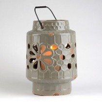 Grey Ceramic Floral Cut-Out Lantern