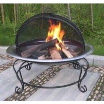 Grey Iron Finish Bowl With Decorate Stand Fire Pit