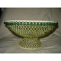 "Green Beaded Metal Weave Decorative Basket Bowl (10'' x 8"")"