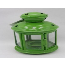 Green colored mini lantern iron with glass size-6""