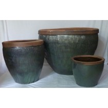 58cm Medium Green Glazed Ceramic Planter