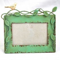 Metal Leaf & Bird Carving Photo Frame