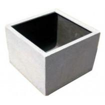 Grey Cubic Shaped 18 Inch Fiberglass Planter