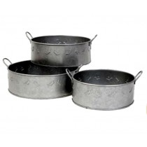 Grey Finish Set of 3 Pcs Metal Planter