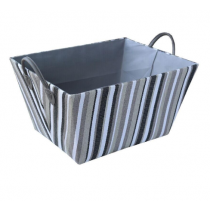 Grey with Black Stripes Laundry Basket