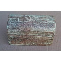 Half Round Brown Wooden Box blue washed Bird Design