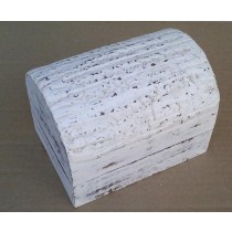 Half Round Hand Curved Whitewashed Wooden Box(7'' x 5'' x 5'')