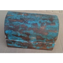 Hand Curved Wooden Box With Bird Design Blue Washed