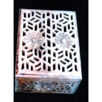 "8'' x 6"" Hand Curved  Net With Floral Design Wooden Box"