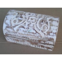 Hand Curved Floral Design Whitewashed Wooden Box(10'' x 6'' x 6'')