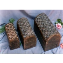 12'' x 8'' x 6.5'' Medium Hand Curved Floral Design Wooden Box