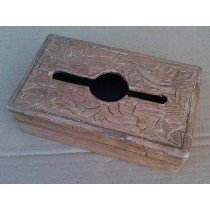 Natural Wood Brown Hand Curved Design Tissue Box