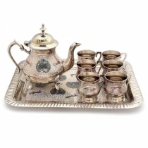 Brass Handcrafted Meenakari Work Tea Set