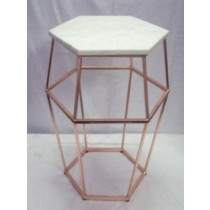 HEX SIDE TABLE IRON COPPER PLATED WHITE WHITE MARBLE, SIZE 42X42X47 CM