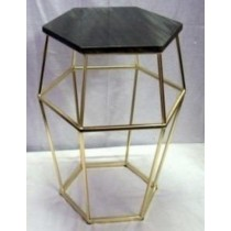 HEX SIDE TABLE IRON BRASS PLATED WHITE GREEN MARBLE, SIZE 42X42X47 CM