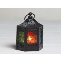 Hexagon Black & Coloured Glass Small Lantern Size-8""