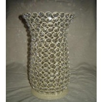 Hurricane Glass Shape With Crystal Beads Design Candle Holder