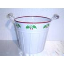 Bucket Shaped Metal Planter With Handle